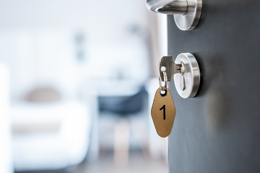 Sleutel in een kamerdeur van Stadshotel Goes.
