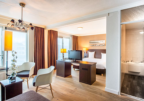 Hotelkamer in hotel Arneville in Middelburg.